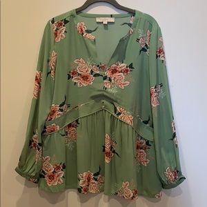 Loft size M green and pink floral long sleeve top